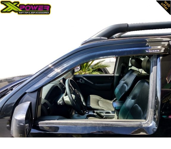 Nissan-Navara-D40-2005-2011-2015-Wind-Deflectros-Door-Visors-4-Doors-Double-Cab-Black-3
