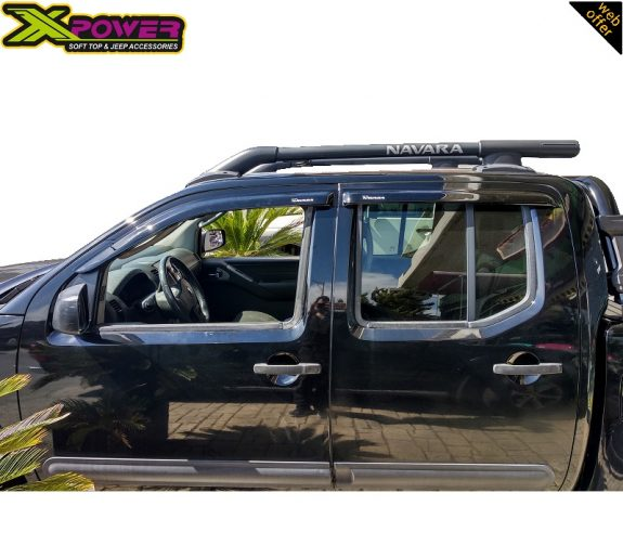 Nissan-Navara-D40-2005-2011-2015-Wind-Deflectros-Door-Visors-4-Doors-Double-Cab-Black-4